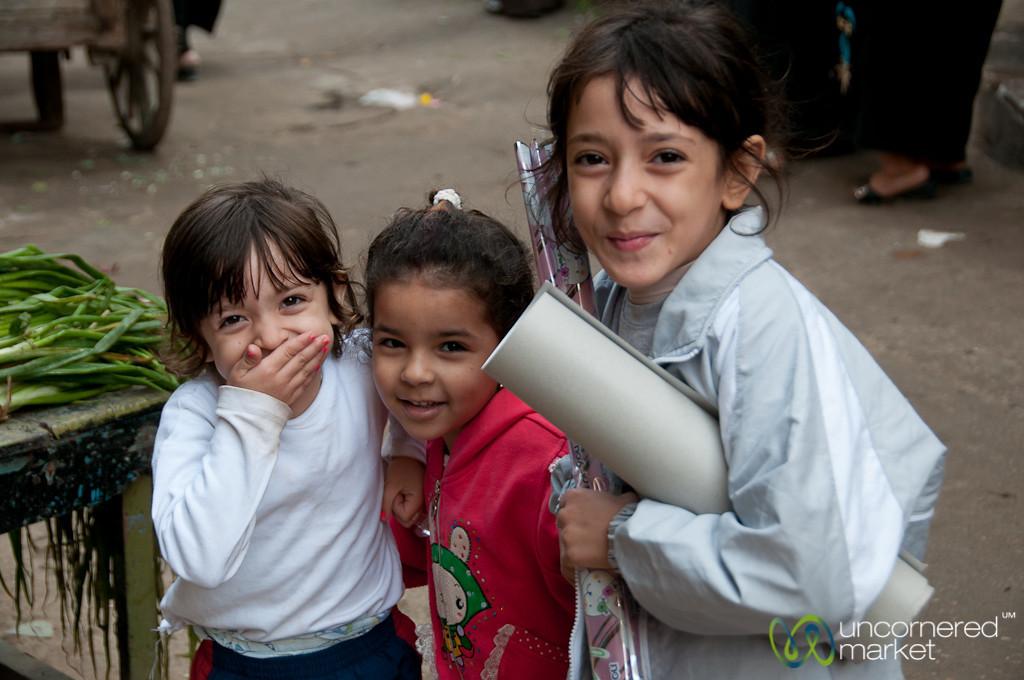 Egyptian Girls at the Fresh Market - Alexandria, Egypt