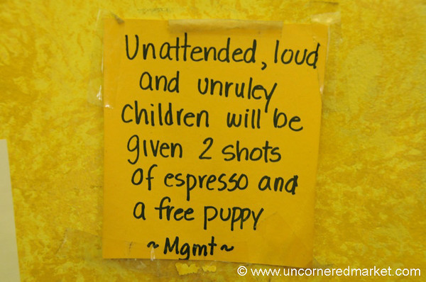 Humorous Note About Unruley Children - Alexandria, Virginia