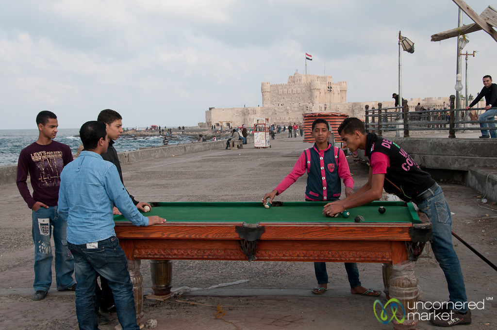 Playing Pool by Citadel of Qaitbay - Alexandria, Egypt