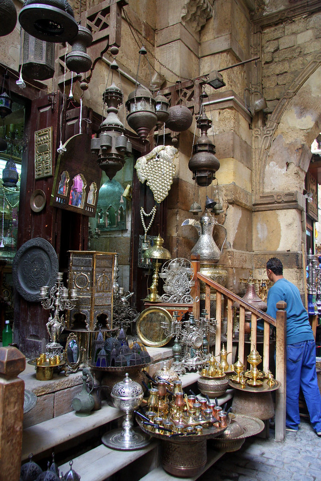 the streets of Khan el-Khalili bazaar in Cairo 2007: Khan el-Khalili  (خان الخليلي‎) is a major souk in the Islamic district of Cairo and dates by to the 1300s.