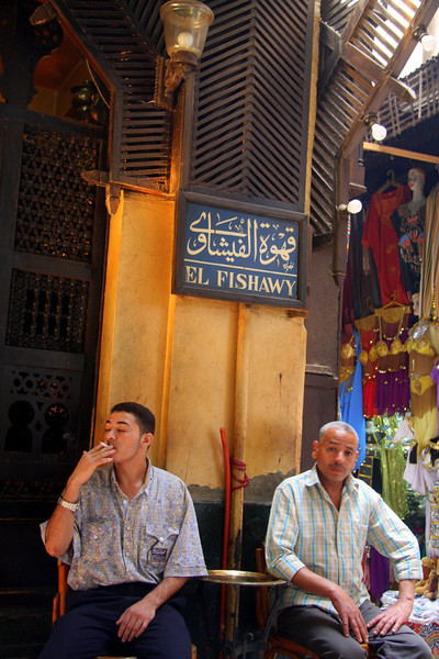 site and enjoy the scene, El Fishawy, Cairo, tea house 2007: Khan el-Khalili  (خان الخليلي‎) is a major souk in the Islamic district of Cairo and dates by to the 1300s.