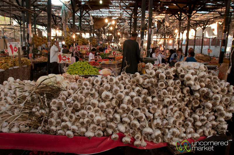 Piles of Garlic at Hurghada's Fresh Market - Egypt