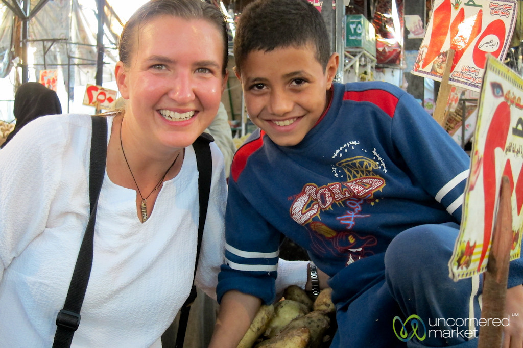 Audrey & Egyptian Boy at Market - Hurghada, Egypt