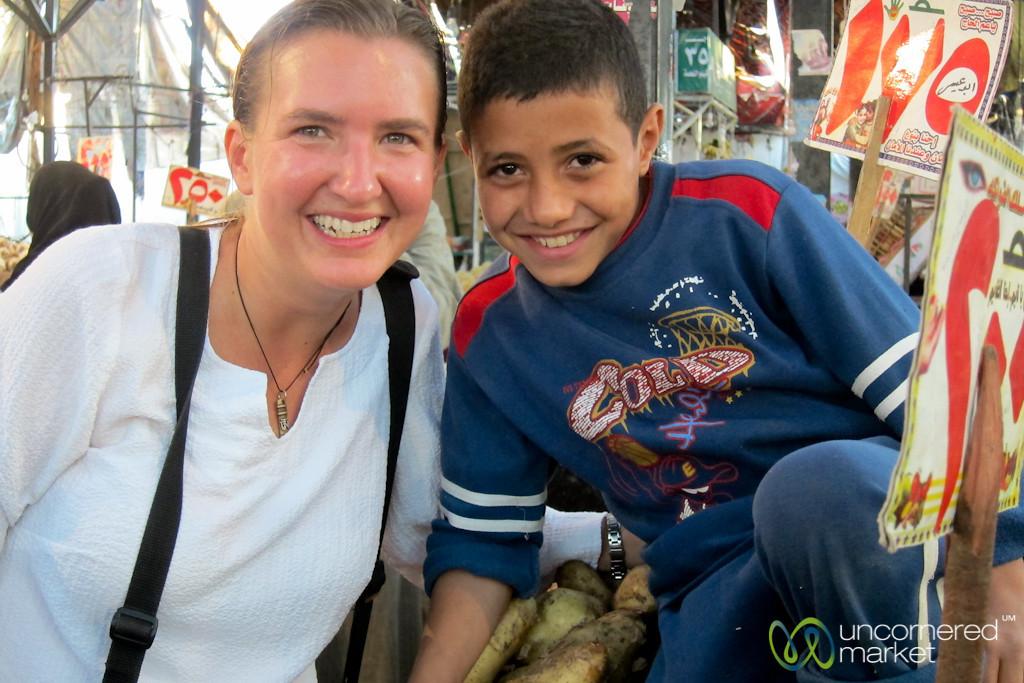 Audrey & Egyptian Boy at Market - Hurghada, Egypt