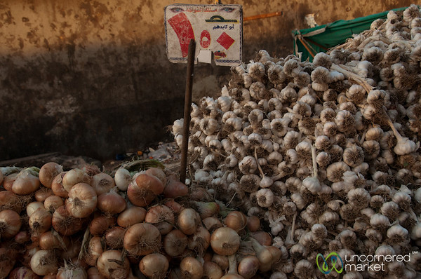 Garlic and Onion at the Fresh Market - Hurghada, Egypt