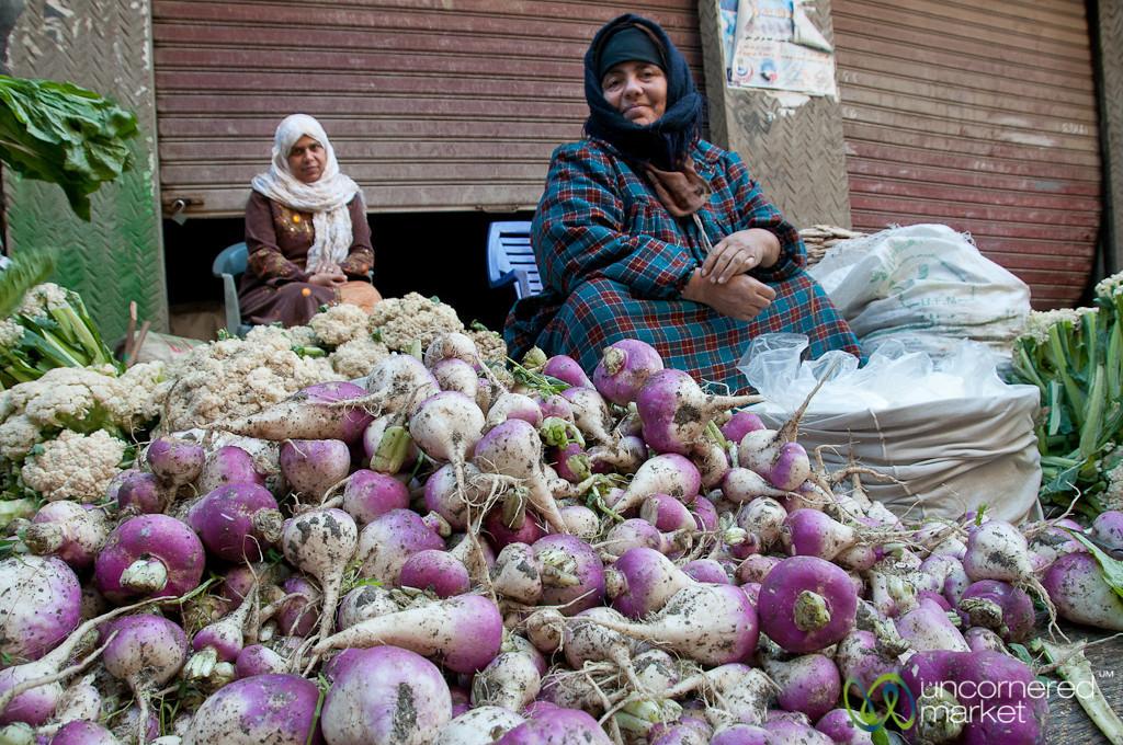 Turnips and Cauliflower at Market in Alexandria, Egypt