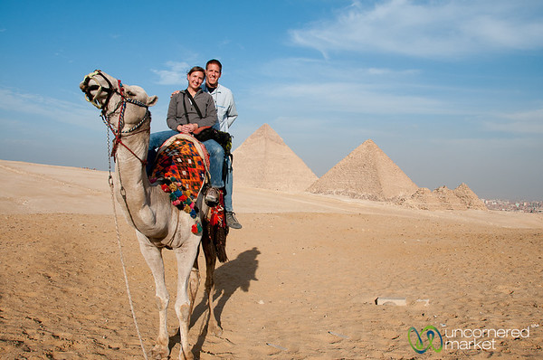Audrey and Dan on Camel at Giza Pyramids - Egypt