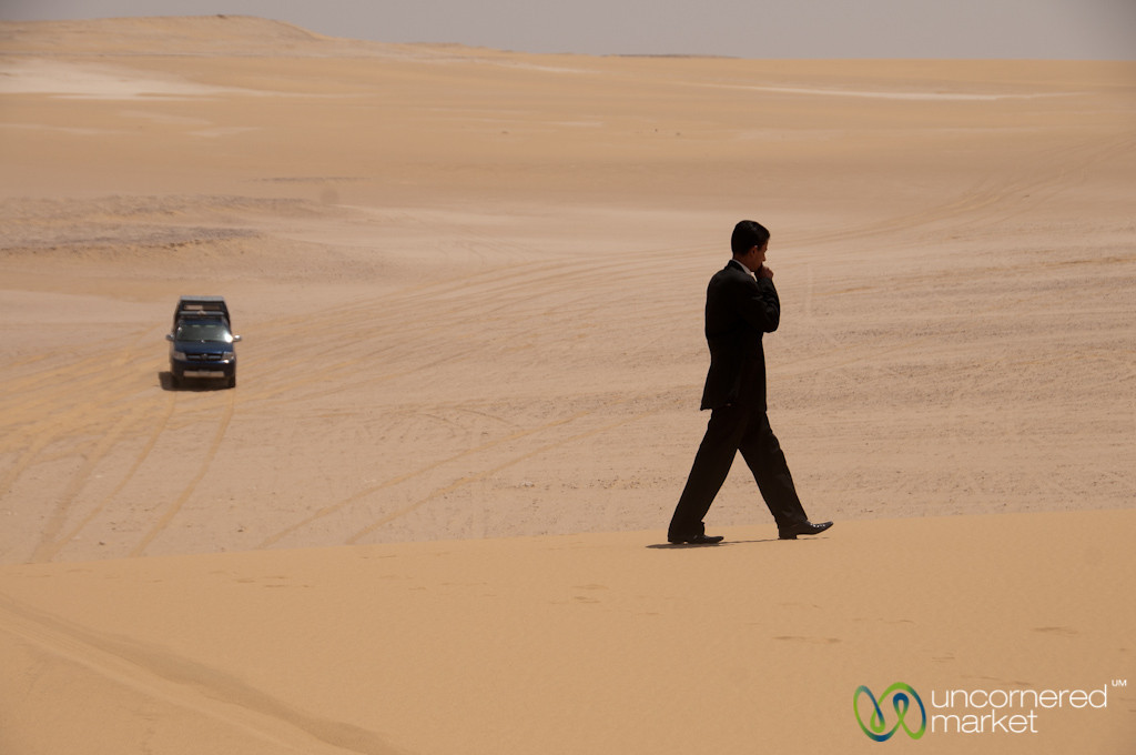 Man in Suit in the Desert - Fayoum, Egypt