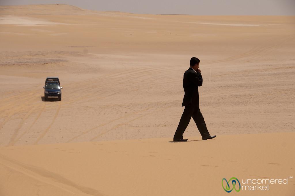 Man in Suit in the Desert - Fayoum, Egypt