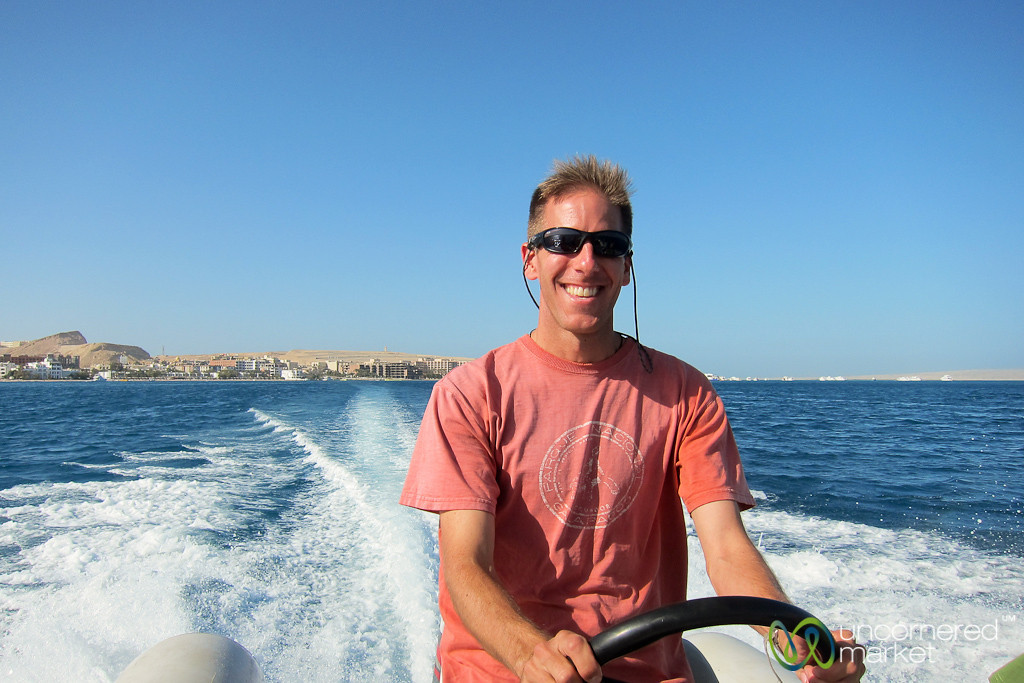 Dan Drives a Boat in Hurghada, Egypt