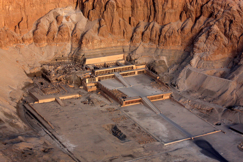 high above the Temple of Hatshepsut, Sunrise Balloon Flight Over the west bank of the Nile, Theban Necropolis and Valley of the Kings ,2007