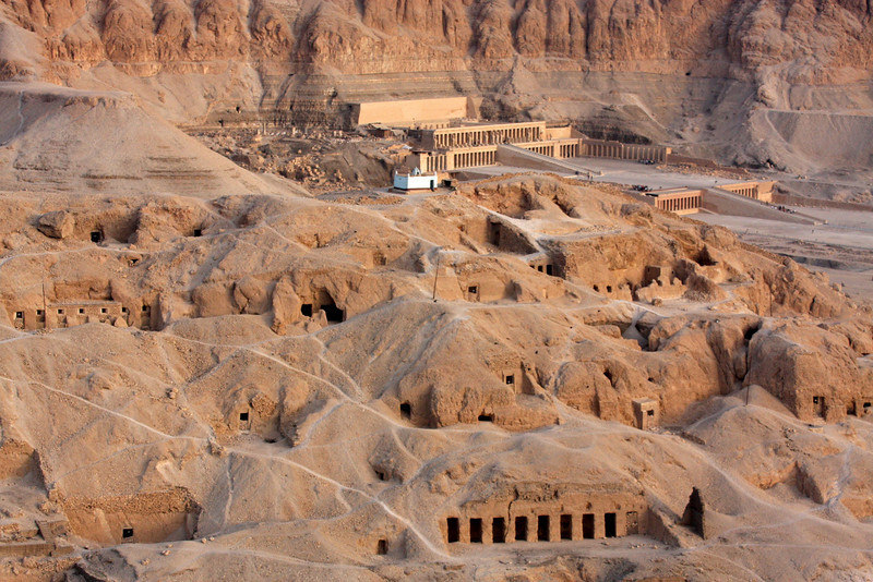 looking toward the Temple of Hatshepsut,  Sunrise Balloon Flight Over the west bank of the Nile, Theban Necropolis and Valley of the Kings ,2007