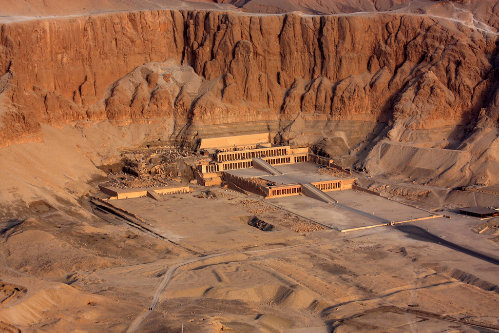 high above the Temple of Hatshepsut showing the cliffs. ,2007