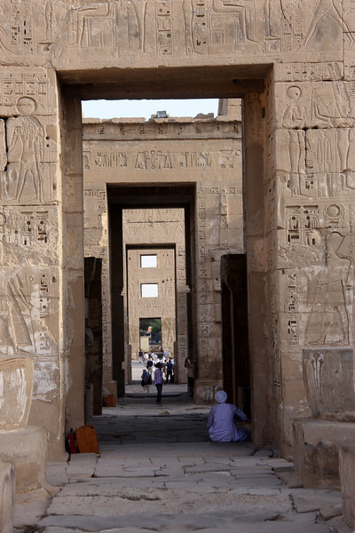 2007, The Temple at Medinat Habu is located on the West Bank of the Nile in the ancient city of Thebes, now called Luxor. It's not as large as Karnak Temple, but the colors are better preserved and there are far fewer tourists. It's located next to the sleepy farming village of Kom Lolah. Some travel books name this site as the most overlooked in Luxor