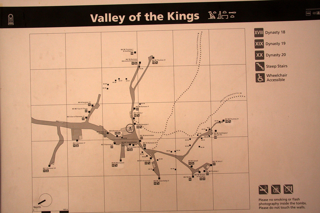 2007: The Valley of the Kings, in Thebes, on the west bank of the Nile by Luxor, is the burial place of the pharaohs of the New Kingdom, 18th, 19th, and 20th Dynasties. To date, more than 62 tombs have been identified.