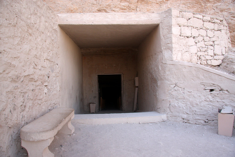 Most of the tombs were cut into the limestone following a similar pattern: three corridors, an antechamber and a sunken sarcophagus chamber. These catacombs were harder to rob and were more easily concealed. The switch to burying the pharaohs within the valley instead of pyramids, was intended to safeguard against tomb robbers. 2007: The Valley of the Kings, in Thebes, on the west bank of the Nile by Luxor, is the burial place of the pharaohs of the New Kingdom, 18th, 19th, and 20th Dynasties. To date, more than 62 tombs have been identified.