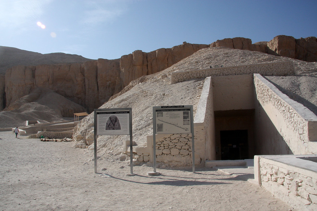 Tomb of Rameses V/VI 2007: The Valley of the Kings, in Thebes, on the west bank of the Nile by Luxor, is the burial place of the pharaohs of the New Kingdom, 18th, 19th, and 20th Dynasties. To date, more than 62 tombs have been identified.