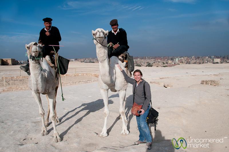 Egyptian Police on Camels - Giza Pyramids, Egypt