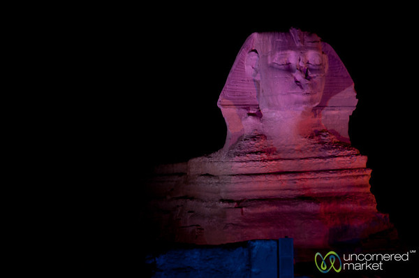 Great Sphinx in Lights - Giza Pyramids, Egypt