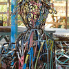 Close up view of a wire sculpture on the coloring terrace.