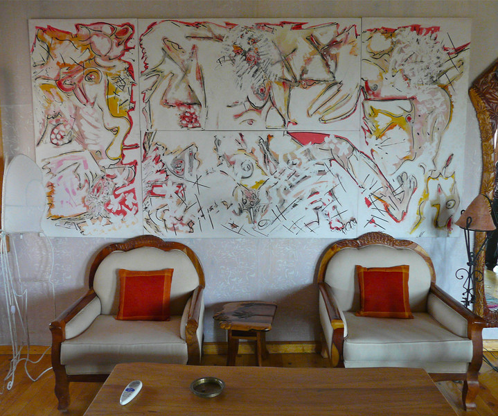Original artwork by Mohamed Allam in his home at Fagnoon Art Center.