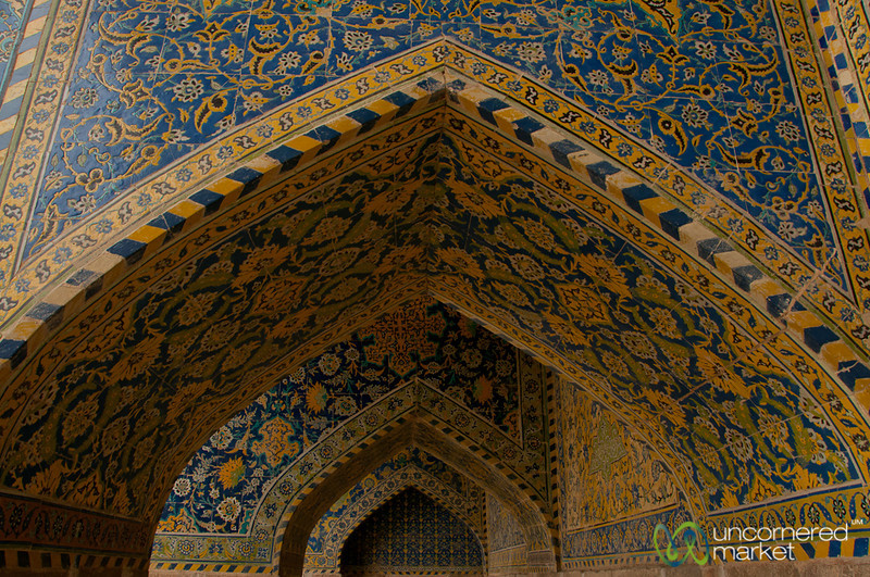 Arches and Persian Tilework at Imam Mosque, Esfahan
