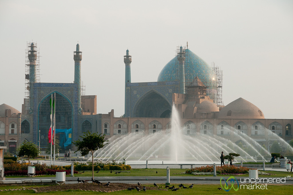 Fountains and Scaffolding at Imam Mosque - Esfahan, Iran