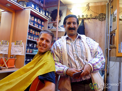 Dan with Barber in Hamadan, Iran