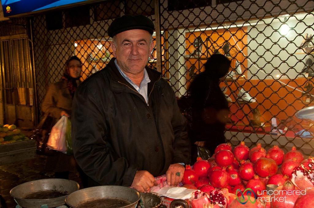 Pomegranate Vendor at Rasht Bazaar - Iran