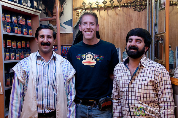 Dan with his Barbers - Hamadan, Iran