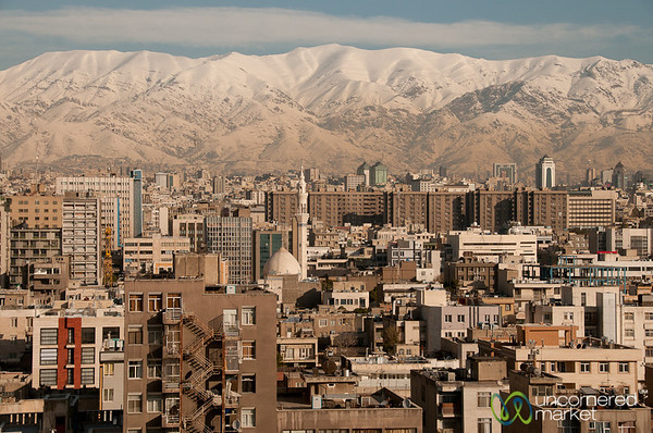 Cityline of Tehran and Snow-Covered Mountains - Iran