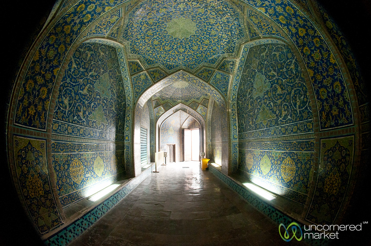 Fisheye of Hallway in Sheikh Lotf Allah Mosque - Esfahan, Iran