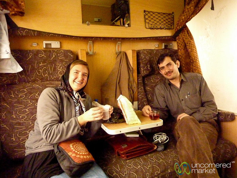 Sharing Tea on Iranian Train