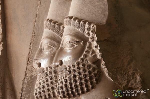 Persian Soldier Faces, a Relief - Persepolis, Iran