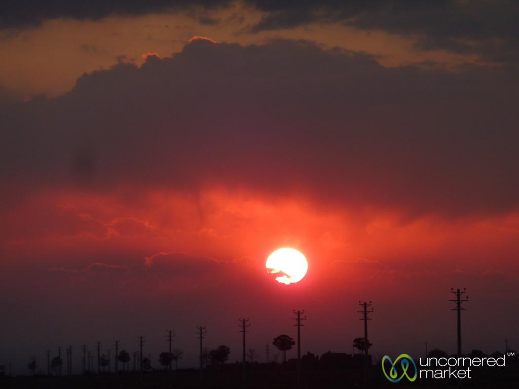 Sunset on Way to Esfahan, Iran