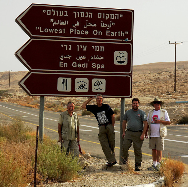 "On our drive from Jerusalem to Qumran National Park  to see the Dead Sea Scrolls location, then onto Masada and Elat we stopped for a swim at the ""Lowest Place On Earth""... not to be missed. West Bank, 2007"