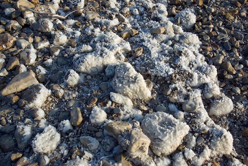 Salt residues on the shore of Dead Sea in Israel
