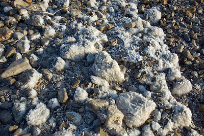 Salt residues on the shore of Dead Sea in Israel