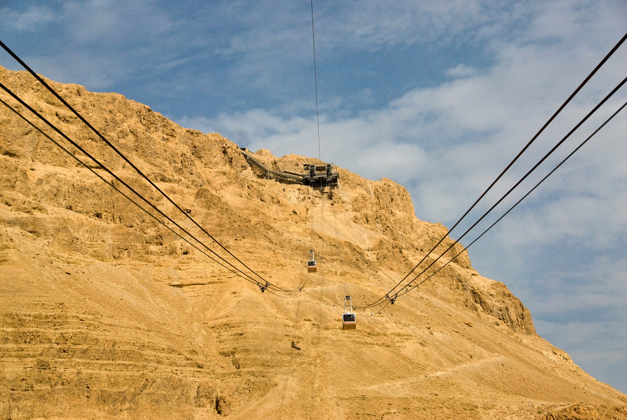 Cable car ride over Masada in Israel
