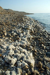 View of the shoreline in Dead Sea in Israel