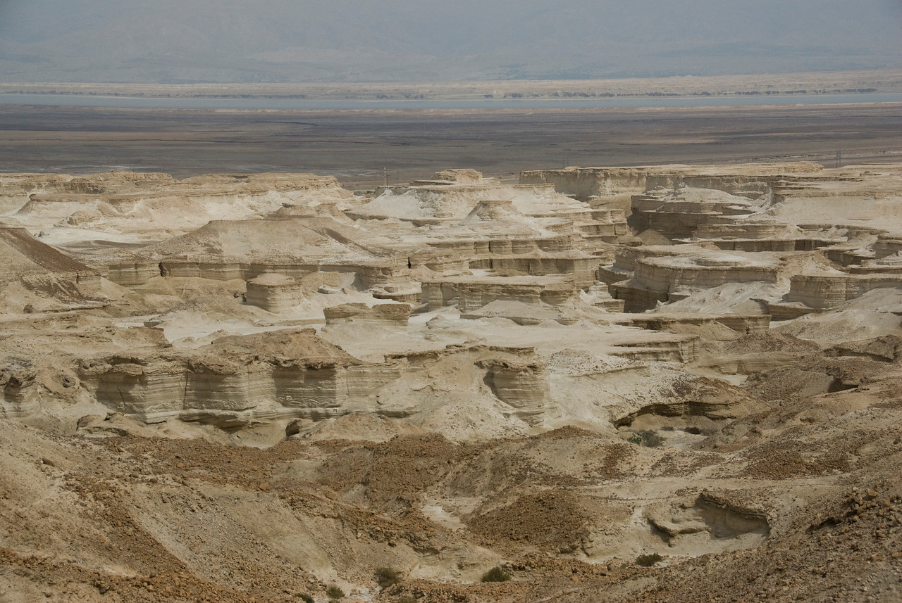 Eroded land features as seen from Masada in Israel