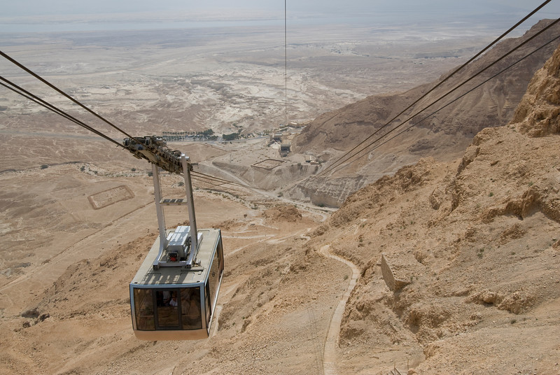 Cable car over Masada in Israel