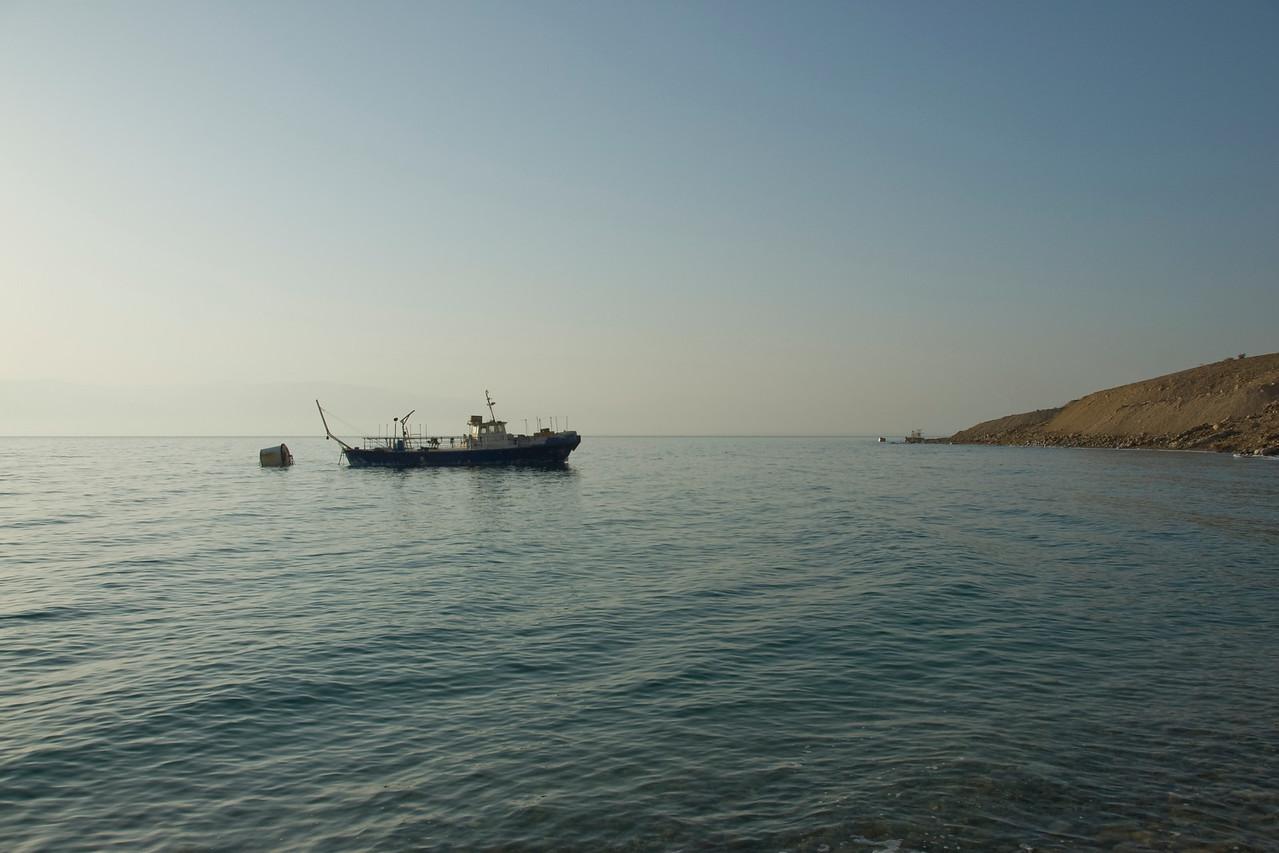 Boat cruising over Dead Sea in Israel