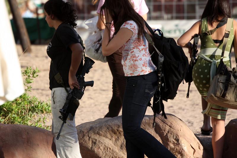 Girls packing a good defense, Eilat, Israel 2007