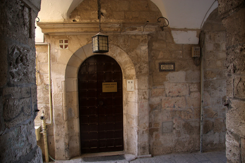 """Entrance to guest house only 5mins from Jaffa Gate:  <a href=""""http://www.guesthouse-jerusalem.org"""">http://www.guesthouse-jerusalem.org</a><br /> Located in the heart of the Old City of Jerusalem on the boundaries of the Armenian and Jewish Quarters, it is within walking distance of some of the most sacred shrines of Christianity, Judaism and Islam. The maze of lanes and alleys of the Old City Bazaars ( or Souks ) are just 20 metres away. Jerusalem - Lutheran Guest House - Old Jerusalem (nr Jaffa Gate), 2007"""