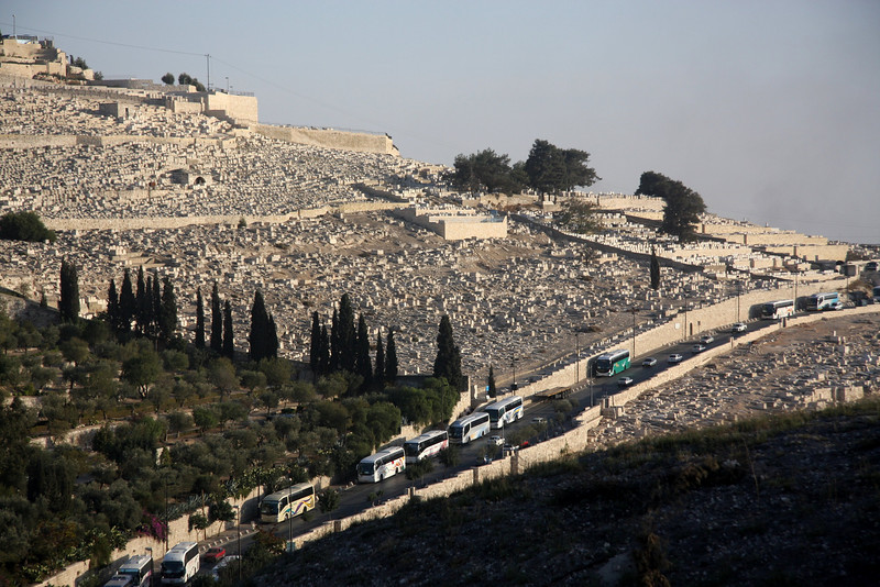 Mount of Olives viewed from the Old City showing the Jewish cemetery. Jerusalem, The Old Walled City, 2007