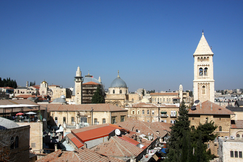 From the roof top patio of the Lutheran Guest House, the Dome of the Church of the Holy Sepulchre and the Tower of  the Church of the Redeemer Jerusalem, The Old Walled City, 2007