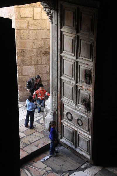 kids at the entrance of the Church of the Holy Sepulcher Jerusalem - The People, 2007