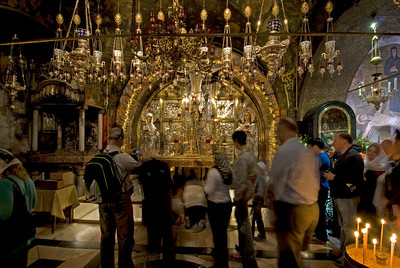 Site of the crucifixion inside Church of the Holy Sepulchre in Jerusalem