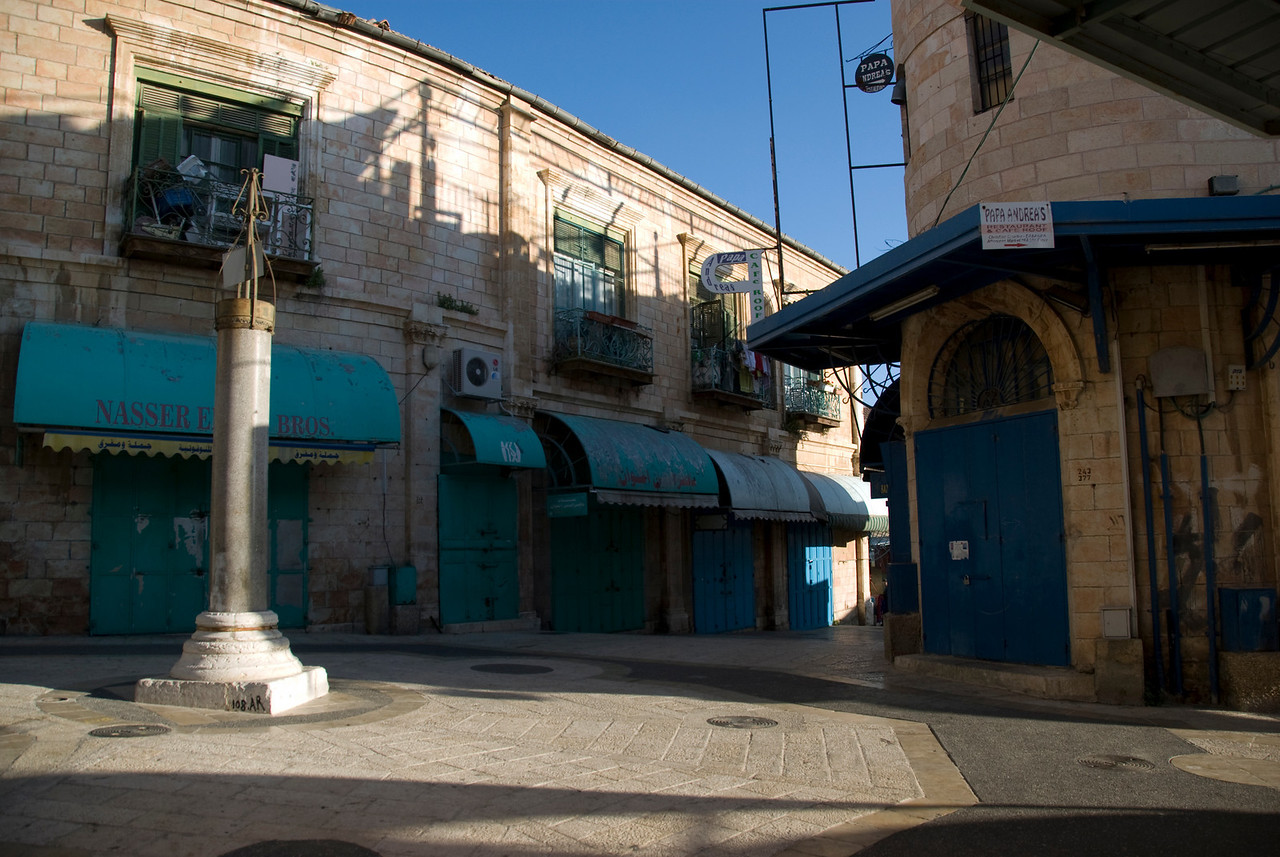 Quiet street intersection in Jerusalem, Israel